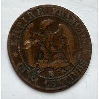 Франция 5 сантимов, 1856 BB - Страсбург 2-6-12