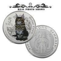 """Республика Вануату 5 вату 2015г. """"Maine Coon"""" кошка. с кристаллами. распродажа"""