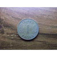 Исландия 1 крона 1962
