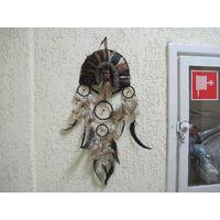 Индеец в перьях. Ловец снов, панно, маска.