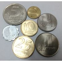 Израиль 1, 5, 10, 25 агор (агорот), 1/2, 1 (old), 5 лир, набор из 7 монет 1960-1980