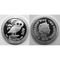 Афинская сова, NIUE, 2019, инвестиционная, 1 oz, (в т.ч. и обмен)
