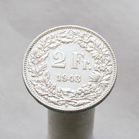 Швейцария 2 франка 1943 СЕРЕБРО