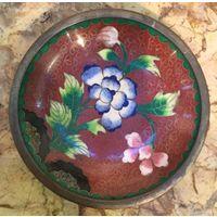 Блюдце (тарелка) Пионы, Клуазоне. Китай 70 -е годы ХХ века