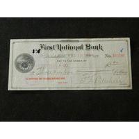 Чек с виньеткой. Первый национальный банк. США 1894 год. Индиана.