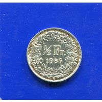 Швейцария 1/2 франка 1956 , серебро