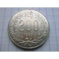 Уругвай 200 новых песо 1989
