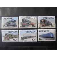 Марки - Гренада, железная дорога, поезда, паровозы, техника, транспорт