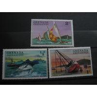 Транспорт, корабли парусники флот марки Гренада фауна рыбы