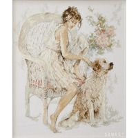 Вышитая картина''Девушка с собакой''
