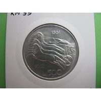 Италия серебро 500 лир 1961 100 лет со дня объединения Италии в холдере