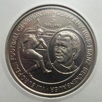 """Ниуэ 5 долларов 1988 """"Чемпионат Европы по футболу, ФРГ 1988: Германия-Франция"""", тираж: 50 тыс."""