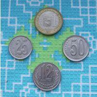 Венесуэла 12 1/2, 25, 50 центов и 1 боливар 2007 года.