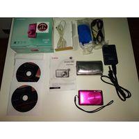 Фотоаппарат CANON IXUS 130 розовый+серебряный чехол
