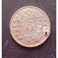 5 раппенов 1872 Швейцария редкая