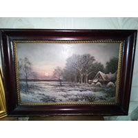 """Картина"""",Зимний пейзаж' холст ,масло.19век."""