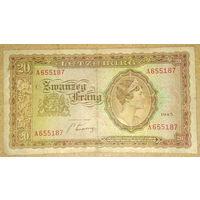 Люксембург 20 франг 1943г