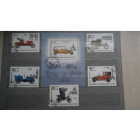 Машины, автомобили, транспорт, техника, ретро, архитектура, часы, марки, Мадагаскар, 1984, блок и 5 марок