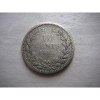 Нидерланды  10 центов  1885 г. серебро