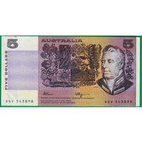 Австралия 5 долларов образца 1973 года. Вариант подписей 1.  Состояние XF+/aUNC. Нечастая!