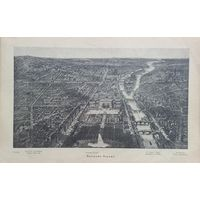 Панорама Парижа.   Новый Лувръ. ГРАВЮРА. 19 век. 24х17см.