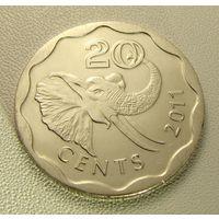 "Эсватини ""Свазиленд"" 20 центов 2011 год UC#1 ""Король Мсвати III"""