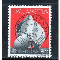 """Швейцария.Ми-1029.""""Непрерывность"""" Макса Билла. Серия: Europa (C.E.P.T.) 1974 - Скульптуры"""