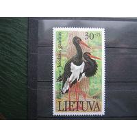Марки - фауна, птицы, Литва, аист, 1991