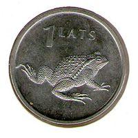 Латвия 1 лат 2010 года. Лягушка. В холдере.