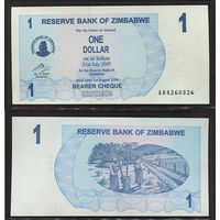 Распродажа коллекции. Зимбабве. 1 доллар 2006 года (P-37 - 2006-2008 Emergency Bearer Checks Issue)