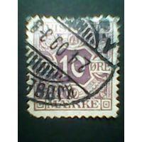 Дания.Служебная марка. 1907г. ;гашеная