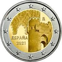 2 Евро Испания 2021 Толедо UNC из ролла