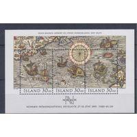 [1614] Исландия 1989. Мореплавание.Карта.Парусники. БЛОК. MNH