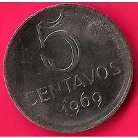 21-22 Бразилия, 5 сентаво 1969 г.