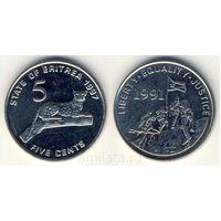 G Эритрея 5 центов 1991 г. Леопард