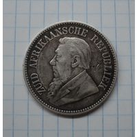 ЮАР (Трансвааль) 2,5 шиллинга 1896, серебро (с МЦ)