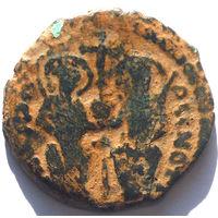 ВИЗАНТИЯ. ЮСТИН II И СОФИЯ (565-578). АНТИОХИЯ. 571 г. AE ФОЛЛИС.
