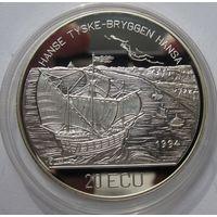 Норвегия, 25 евро, 1992, серебро, пруф