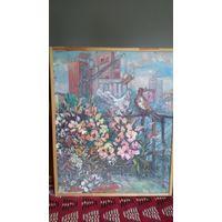 Картина на холсте маслом Новостройки 1970года .художник Софья Дмитриевна Ли.Соцреализм.