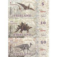 Фрисланд Набор 7 банкнот 2016 - Динозавры UNC