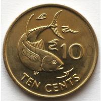 Сейшельские острова 10 центов 2007 года. Рыба