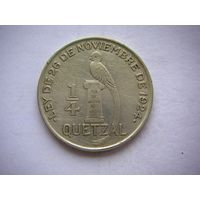 Гватемала 1/4 кетсаль 1928 г. серебро