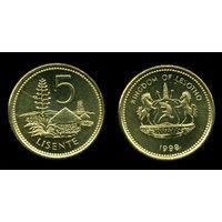 G Лесото 5 лисенте 1998 г.