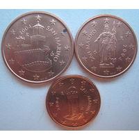 Сан-Марино 1, 2, 5 евроцентов 2004 г.