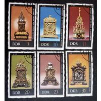 ГДР 1975 г. Антикварные часы. Культура. Искусство, полная серия из 6 марок #0049-И1P11