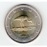 2 евро Латвия аист 2015