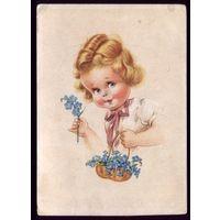 Германия Девочка с корзиной цветов