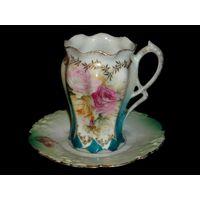 Чашка тарелка кофе Пруссия Германия 19 век