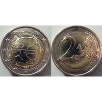 Бельгия, 2 евро 2009 10 лет Экономическому и валютному союзу. UNC.