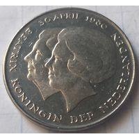 Нидерланды 1 гульден, 1980 Коронация королевы Беатрис     ( К-1-1 )